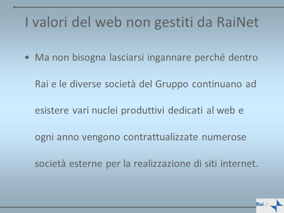 I valori del web non gestiti da RaiNet Ma non bisogna lasciarsi ingannare perché dentro Rai e le diverse società del Gruppo continuano ad esistere var