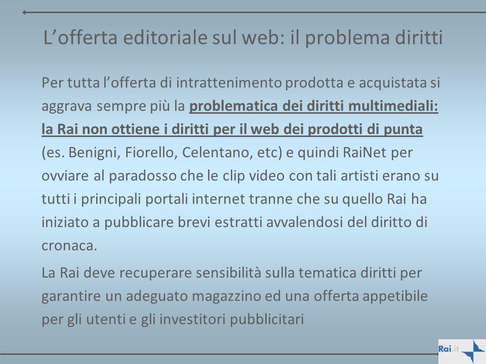 Lofferta editoriale sul web: il problema diritti Per tutta lofferta di intrattenimento prodotta e acquistata si aggrava sempre più la problematica dei