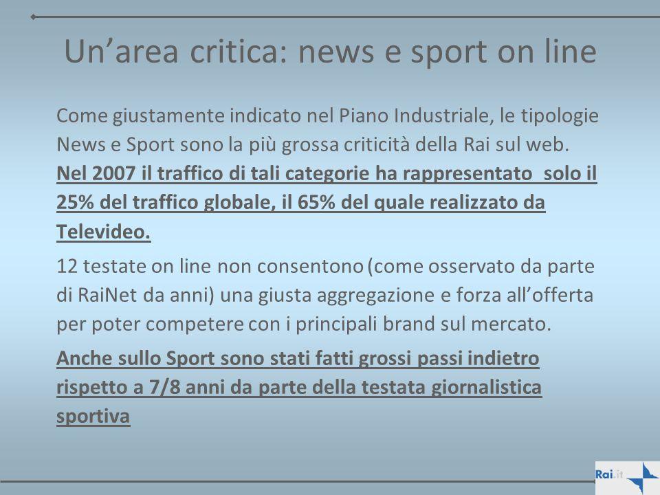 Unarea critica: news e sport on line Come giustamente indicato nel Piano Industriale, le tipologie News e Sport sono la più grossa criticità della Rai