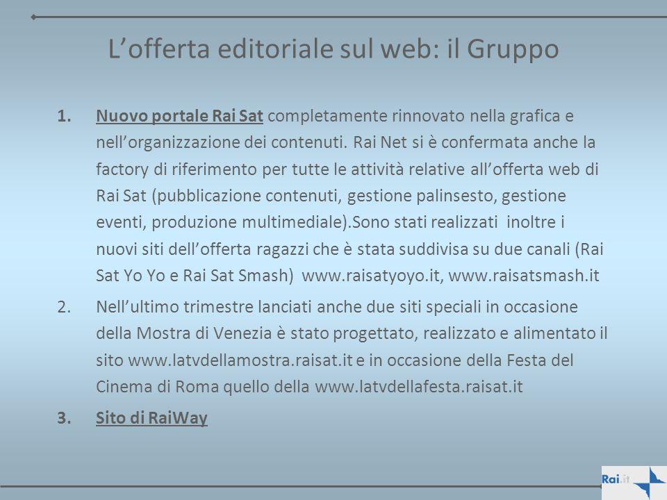 Lofferta editoriale sul web: il Gruppo 1.Nuovo portale Rai Sat completamente rinnovato nella grafica e nellorganizzazione dei contenuti. Rai Net si è