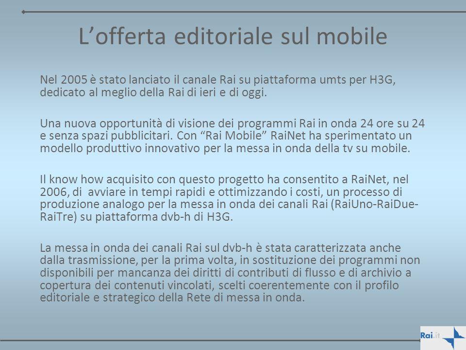 Lofferta editoriale sul mobile Nel 2005 è stato lanciato il canale Rai su piattaforma umts per H3G, dedicato al meglio della Rai di ieri e di oggi. Un