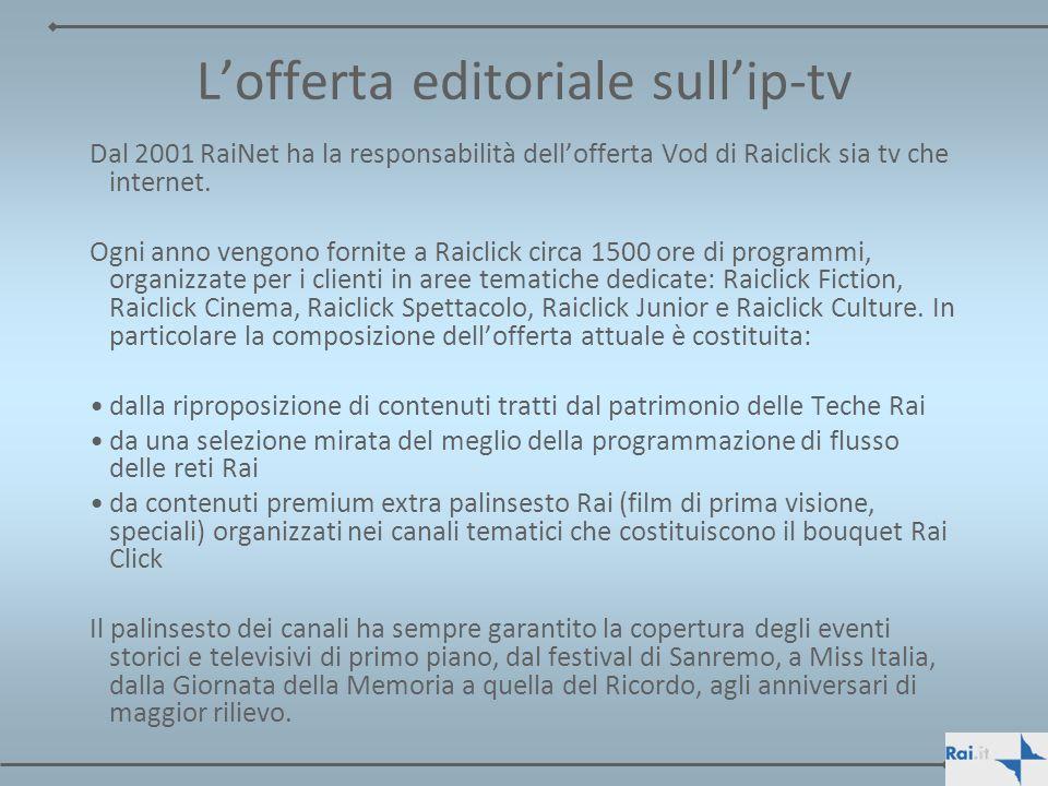 Lofferta editoriale sullip-tv Dal 2001 RaiNet ha la responsabilità dellofferta Vod di Raiclick sia tv che internet. Ogni anno vengono fornite a Raicli