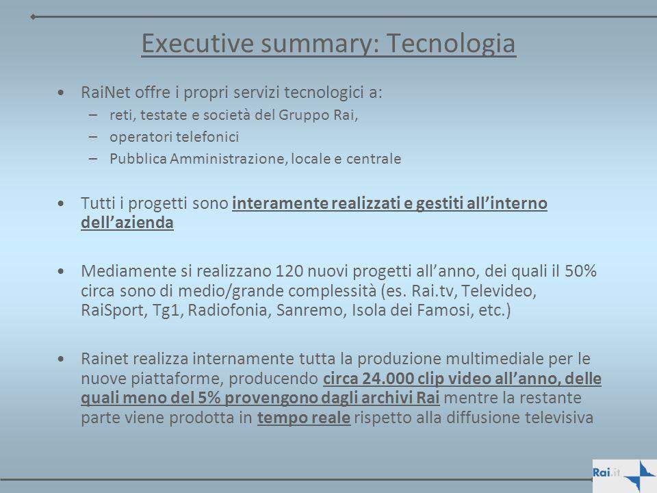 Executive summary: Tecnologia RaiNet offre i propri servizi tecnologici a: –reti, testate e società del Gruppo Rai, –operatori telefonici –Pubblica Am