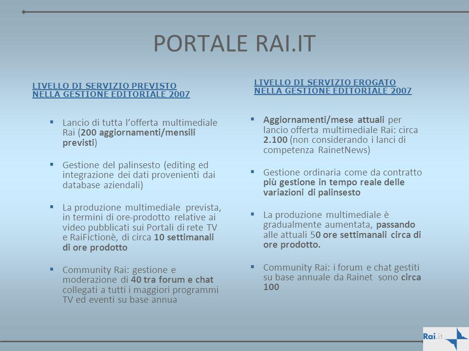 PORTALE RAI.IT Lancio di tutta lofferta multimediale Rai (200 aggiornamenti/mensili previsti) Gestione del palinsesto (editing ed integrazione dei dat