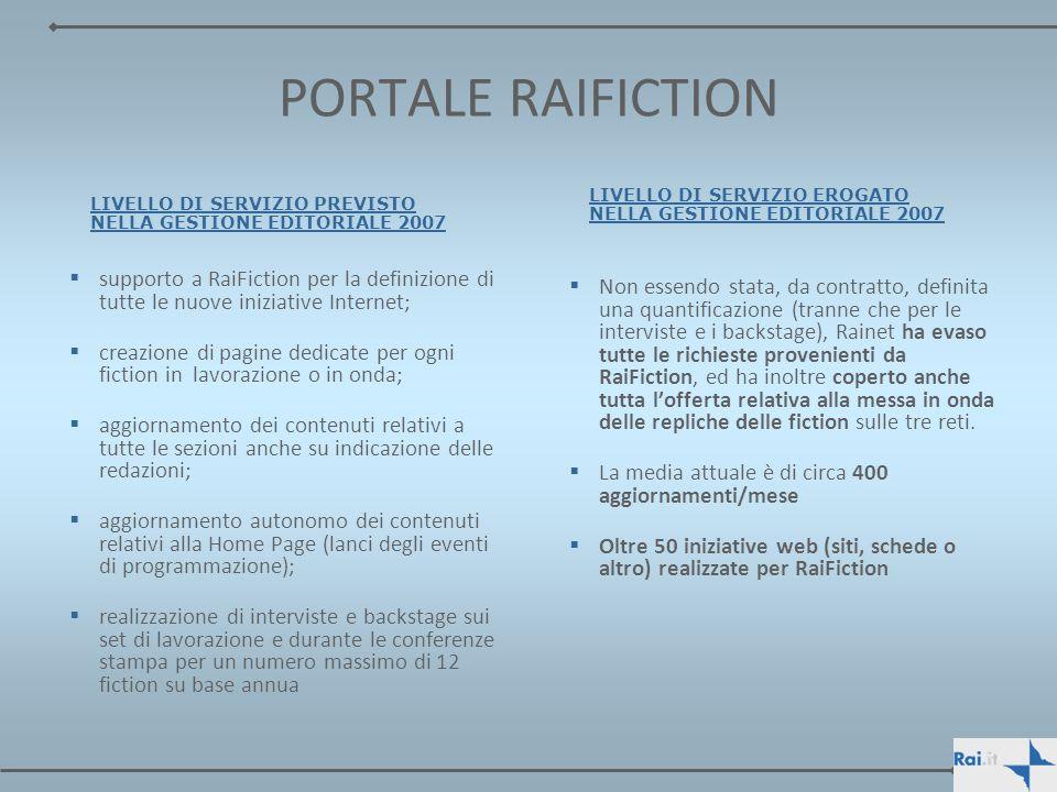 PORTALE RAIFICTION supporto a RaiFiction per la definizione di tutte le nuove iniziative Internet; creazione di pagine dedicate per ogni fiction in la