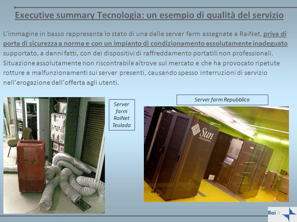 Executive summary Tecnologia: un esempio di qualità del servizio Limmagine in basso rappresenta lo stato di una delle server farm assegnate a RaiNet,