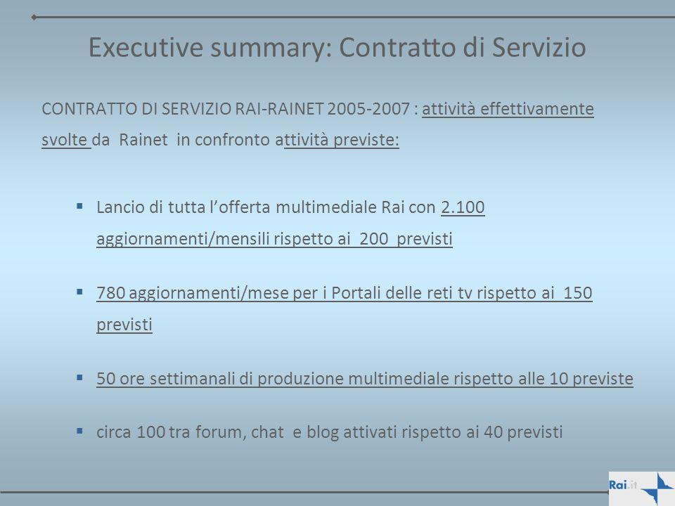 CONTRATTO DI SERVIZIO RAI-RAINET 2005-2007 : attività effettivamente svolte da Rainet in confronto attività previste: Lancio di tutta lofferta multime