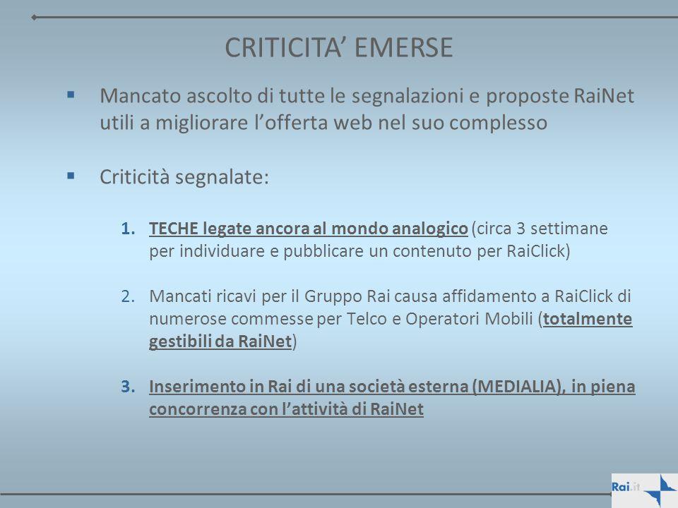4.Tutti i contenuti realizzati da RaiNet per RaiClick (tv e web) risiedono su server FastWeb nella totale indisponibilità di Rai 5.Rapporti con ICT: gestione server farm e problematiche come Tresibonda 6.Rischio di perdita del controllo e del governo dei processi produttivi e tecnologici (open-source) 7.Totale delegittimazione dei vertici di RaiNet, dei suoi dirigenti e quadri per le scorrette informazioni riportate nel Piano Industriale CRITICITA EMERSE