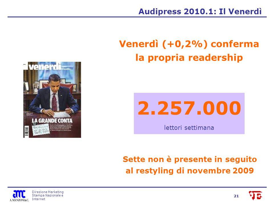 Direzione Marketing Stampa Nazionale e Internet 21 Venerdì (+0,2%) conferma la propria readership Audipress 2010.1: Il Venerdì 2.257.000 lettori settimana Sette non è presente in seguito al restyling di novembre 2009