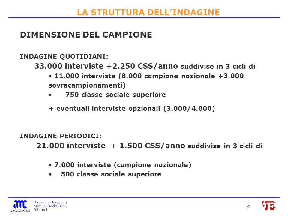 Direzione Marketing Stampa Nazionale e Internet 4 DIMENSIONE DEL CAMPIONE INDAGINE QUOTIDIANI: 33.000 interviste +2.250 CSS/anno suddivise in 3 cicli di 11.000 interviste (8.000 campione nazionale +3.000 sovracampionamenti) 750 classe sociale superiore + eventuali interviste opzionali (3.000/4.000) INDAGINE PERIODICI: 21.000 interviste + 1.500 CSS/anno suddivise in 3 cicli di 7.000 interviste (campione nazionale) 500 classe sociale superiore LA STRUTTURA DELLINDAGINE
