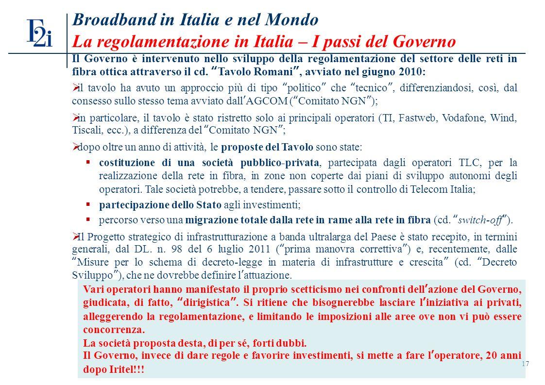 Broadband in Italia e nel Mondo La regolamentazione in Italia – I passi del Governo 17 Vari operatori hanno manifestato il proprio scetticismo nei confronti dellazione del Governo, giudicata, di fatto, dirigistica.