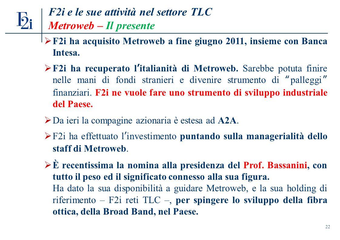 22 F2i e le sue attività nel settore TLC Metroweb – Il presente F2i ha acquisito Metroweb a fine giugno 2011, insieme con Banca Intesa.