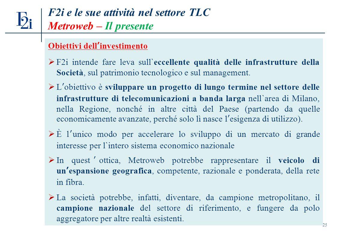 25 Obiettivi dellinvestimento F2i intende fare leva sull`eccellente qualità delle infrastrutture della Società, sul patrimonio tecnologico e sul management.