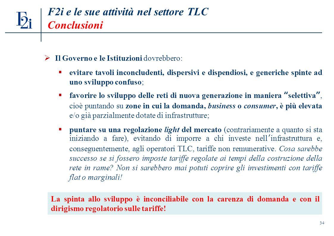 34 F2i e le sue attività nel settore TLC Conclusioni Il Governo e le Istituzioni dovrebbero: evitare tavoli inconcludenti, dispersivi e dispendiosi, e generiche spinte ad uno sviluppo confuso; favorire lo sviluppo delle reti di nuova generazione in maniera selettiva, cioè puntando su zone in cui la domanda, business o consumer, è più elevata e/o già parzialmente dotate di infrastrutture; puntare su una regolazione light del mercato (contrariamente a quanto si sta iniziando a fare), evitando di imporre a chi investe nellinfrastruttura e, conseguentemente, agli operatori TLC, tariffe non remunerative.