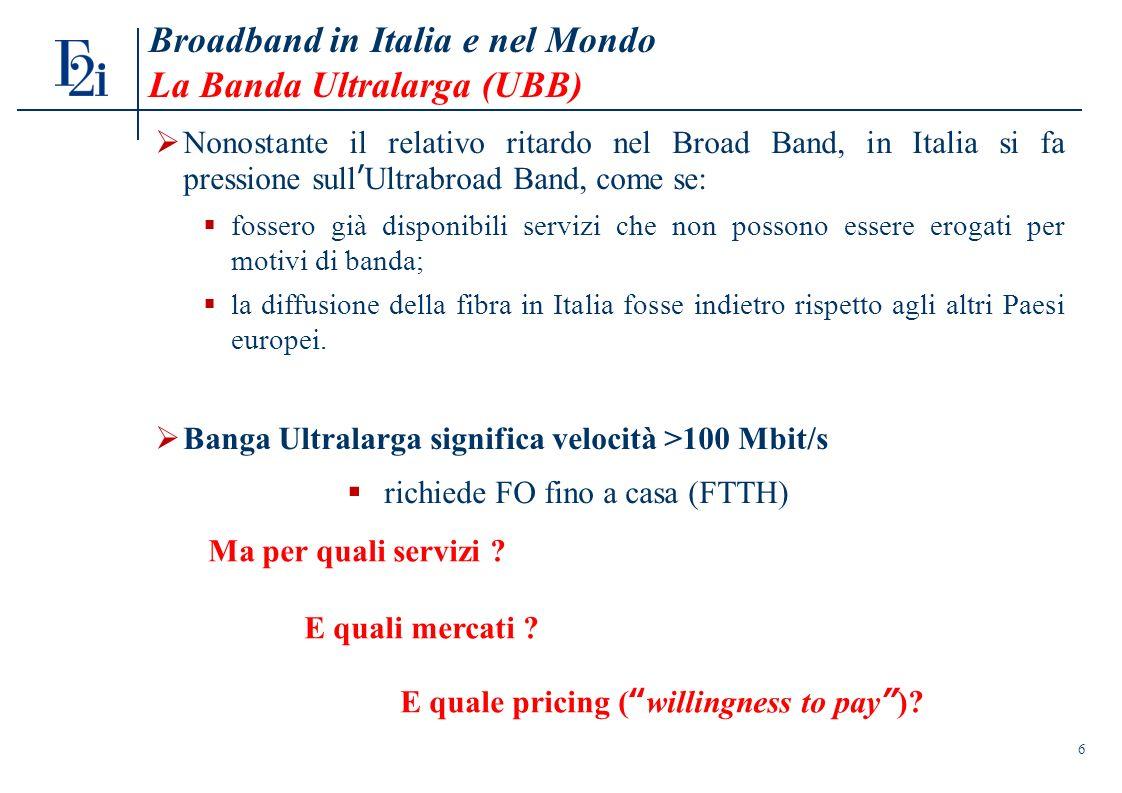 6 Broadband in Italia e nel Mondo La Banda Ultralarga (UBB) Nonostante il relativo ritardo nel Broad Band, in Italia si fa pressione sullUltrabroad Band, come se: fossero già disponibili servizi che non possono essere erogati per motivi di banda; la diffusione della fibra in Italia fosse indietro rispetto agli altri Paesi europei.