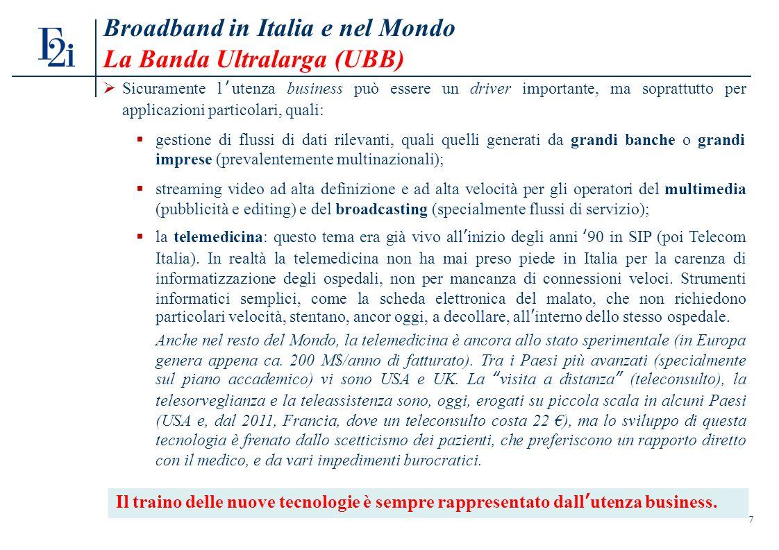 7 Broadband in Italia e nel Mondo La Banda Ultralarga (UBB) Sicuramente lutenza business può essere un driver importante, ma soprattutto per applicazioni particolari, quali: gestione di flussi di dati rilevanti, quali quelli generati da grandi banche o grandi imprese (prevalentemente multinazionali); streaming video ad alta definizione e ad alta velocità per gli operatori del multimedia (pubblicità e editing) e del broadcasting (specialmente flussi di servizio); la telemedicina: questo tema era già vivo allinizio degli anni 90 in SIP (poi Telecom Italia).
