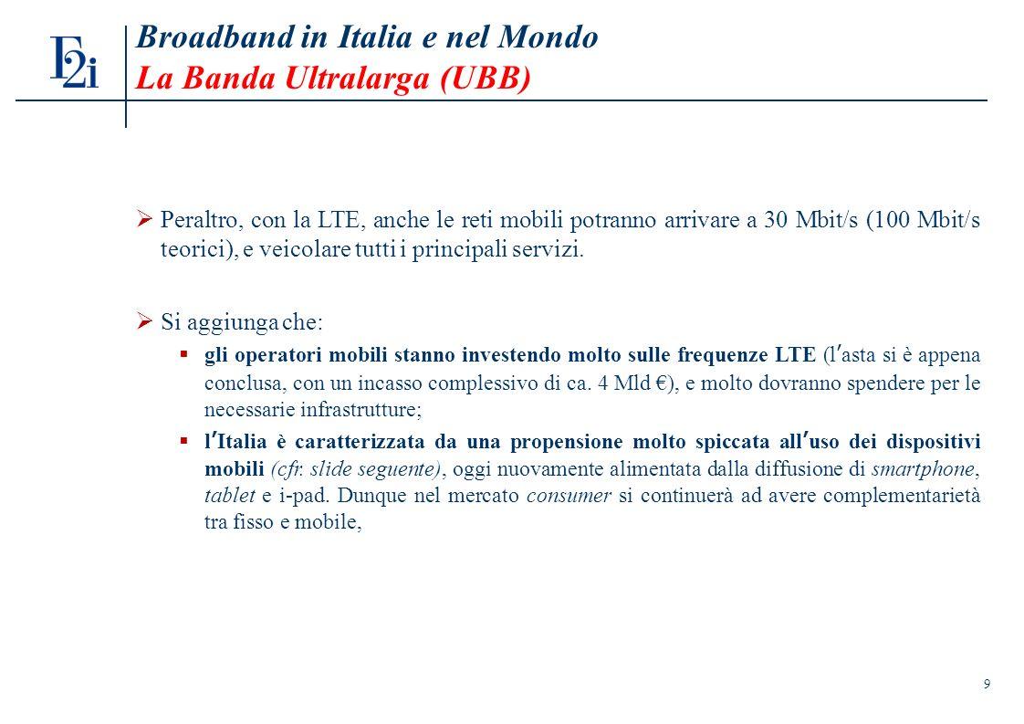 9 Broadband in Italia e nel Mondo La Banda Ultralarga (UBB) Peraltro, con la LTE, anche le reti mobili potranno arrivare a 30 Mbit/s (100 Mbit/s teorici), e veicolare tutti i principali servizi.
