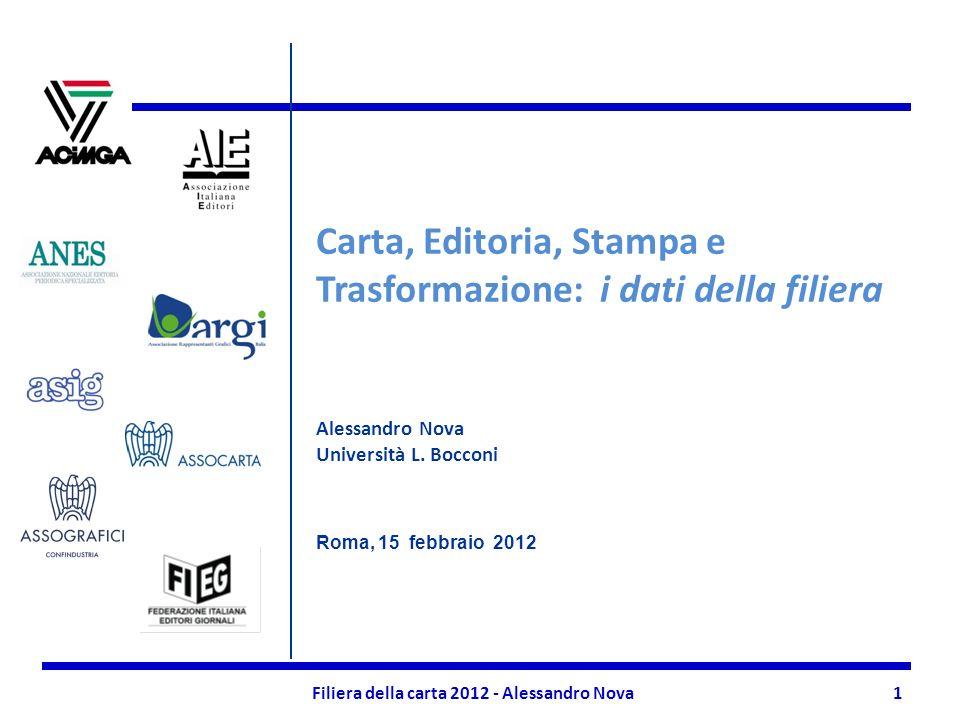 Filiera della carta 2012 - Alessandro Nova1 Carta, Editoria, Stampa e Trasformazione: i dati della filiera Alessandro Nova Università L.