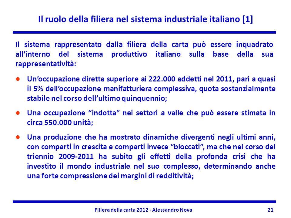 Il ruolo della filiera nel sistema industriale italiano [1] Filiera della carta 2012 - Alessandro Nova21 Unoccupazione diretta superiore ai 222.000 addetti nel 2011, pari a quasi il 5% delloccupazione manifatturiera complessiva, quota sostanzialmente stabile nel corso dellultimo quinquennio; Una occupazione indotta nei settori a valle che può essere stimata in circa 550.000 unità; Una produzione che ha mostrato dinamiche divergenti negli ultimi anni, con comparti in crescita e comparti invece bloccati, ma che nel corso del triennio 2009-2011 ha subito gli effetti della profonda crisi che ha investito il mondo industriale nel suo complesso, determinando anche una forte compressione dei margini di redditività; Il sistema rappresentato dalla filiera della carta può essere inquadrato allinterno del sistema produttivo italiano sulla base della sua rappresentatività: