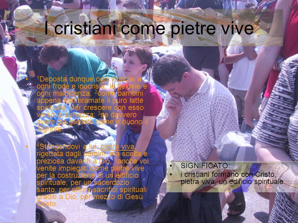 I cristiani come pietre vive SIGNIFICATO: i cristiani formano con Cristo, pietra viva, un edificio spirituale 1 Deposta dunque ogni malizia e ogni fro