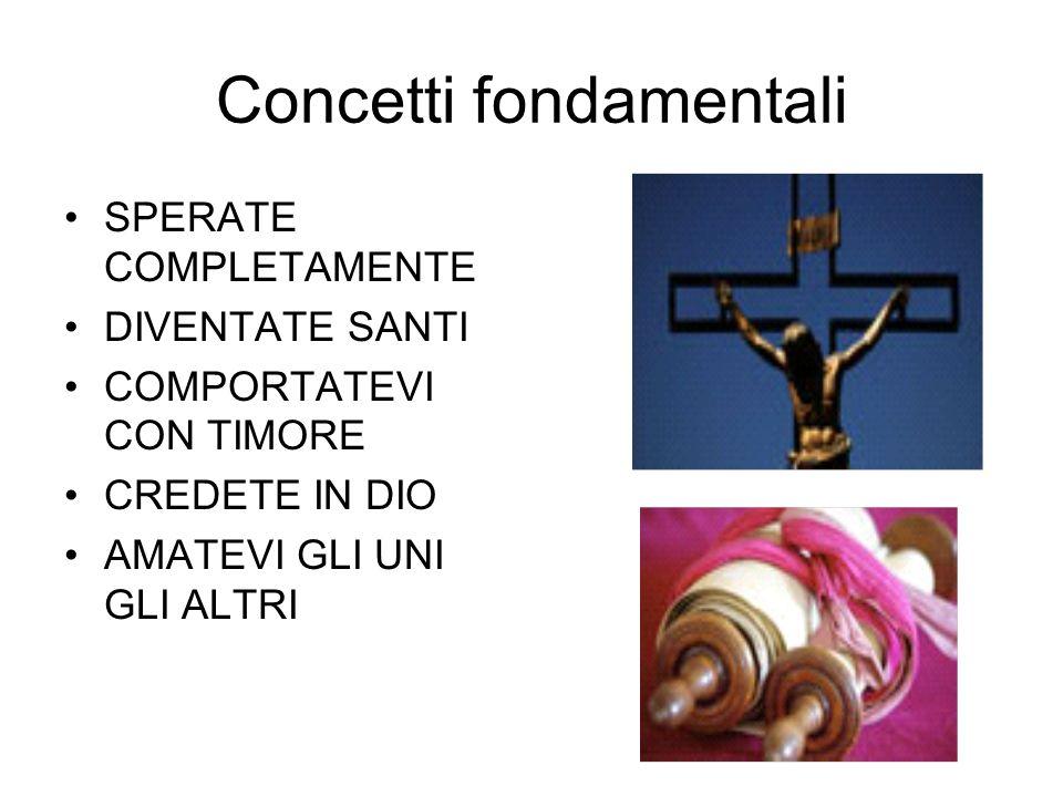 Concetti fondamentali SPERATE COMPLETAMENTE DIVENTATE SANTI COMPORTATEVI CON TIMORE CREDETE IN DIO AMATEVI GLI UNI GLI ALTRI