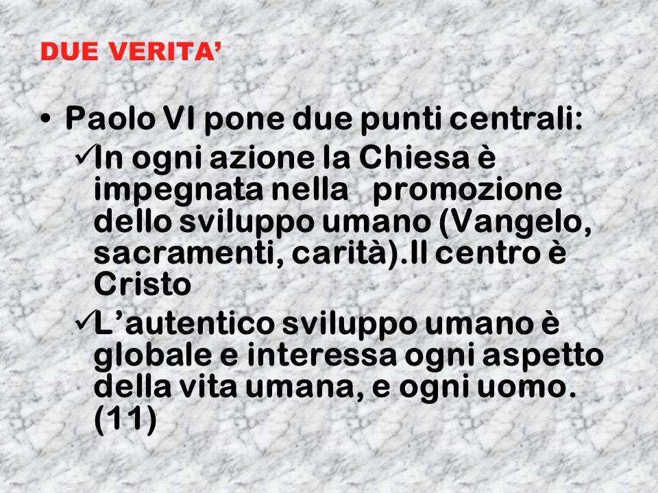 DUE VERITA Paolo VI pone due punti centrali: In ogni azione la Chiesa è impegnata nella promozione dello sviluppo umano (Vangelo, sacramenti, carità).