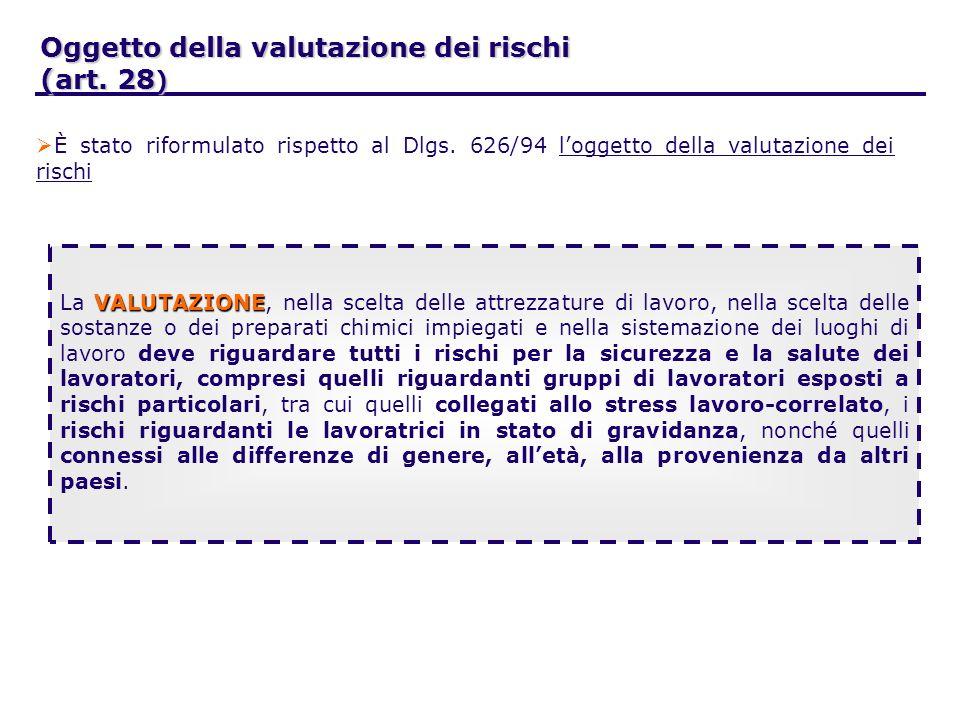 Oggetto della valutazione dei rischi (art. 28 ) È stato riformulato rispetto al Dlgs.