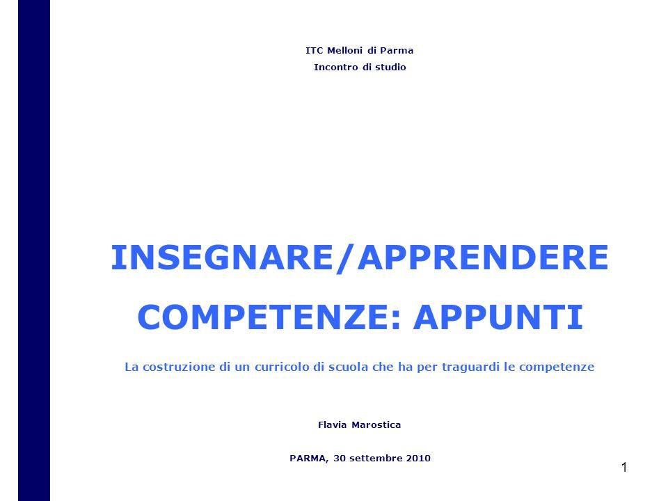 1 ITC Melloni di Parma Incontro di studio INSEGNARE/APPRENDERE COMPETENZE: APPUNTI La costruzione di un curricolo di scuola che ha per traguardi le competenze Flavia Marostica PARMA, 30 settembre 2010
