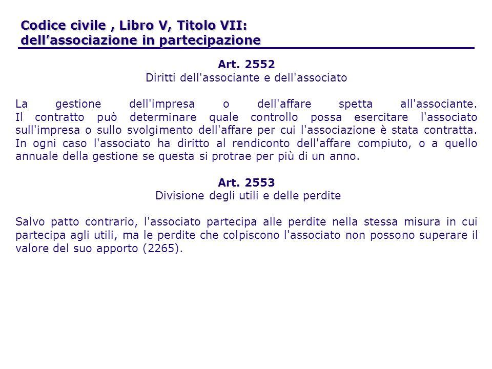 Codice civile, Libro V, Titolo VII: dellassociazione in partecipazione Art. 2552 Diritti dell'associante e dell'associato La gestione dell'impresa o d