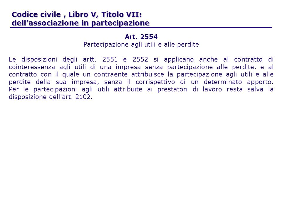 Codice civile, Libro V, Titolo VII: dellassociazione in partecipazione Art. 2554 Partecipazione agli utili e alle perdite Le disposizioni degli artt.