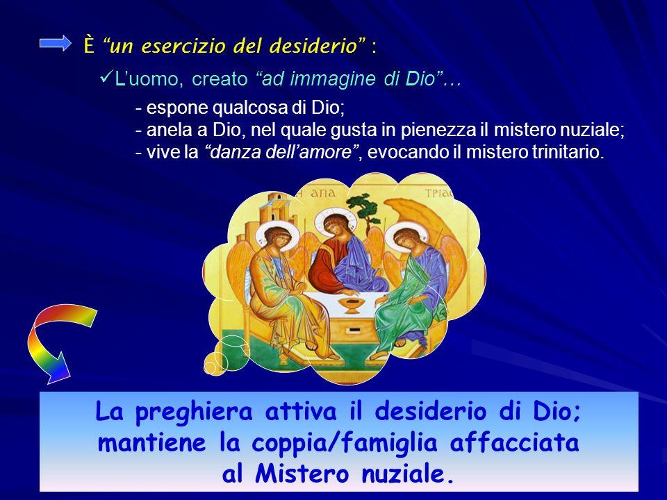 La preghiera attiva il desiderio di Dio; mantiene la coppia/famiglia affacciata al Mistero nuziale.