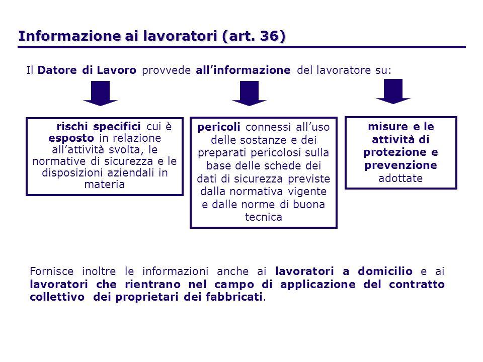 Informazione ai lavoratori (art. 36) Il Datore di Lavoro provvede allinformazione del lavoratore su: rischi specifici cui è esposto in relazione allat