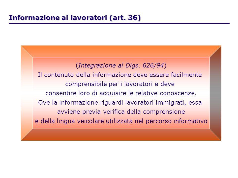 . Informazione ai lavoratori (art. 36) (Integrazione al Dlgs. 626/94) Il contenuto della informazione deve essere facilmente comprensibile per i lavor