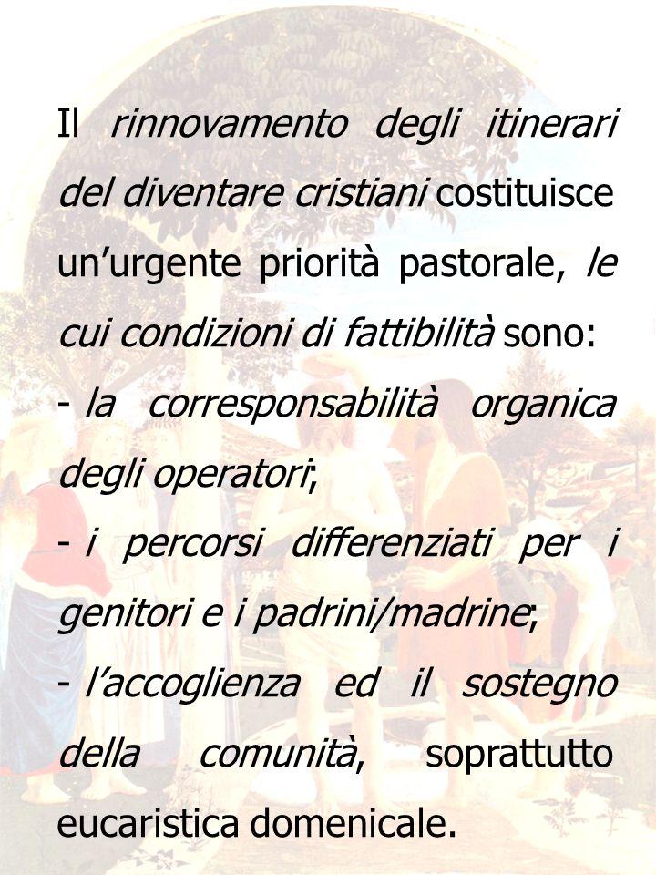 14 Il rinnovamento degli itinerari del diventare cristiani costituisce unurgente priorità pastorale, le cui condizioni di fattibilità sono: - la corre