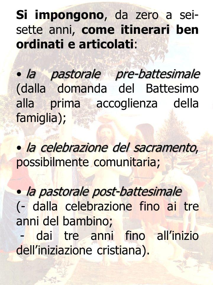 21 Si impongono, da zero a sei- sette anni, come itinerari ben ordinati e articolati: la pastorale pre-battesimale la pastorale pre-battesimale (dalla