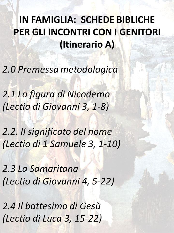 27 IN FAMIGLIA: SCHEDE BIBLICHE PER GLI INCONTRI CON I GENITORI (Itinerario A) 2.0 Premessa metodologica 2.1 La figura di Nicodemo (Lectio di Giovanni