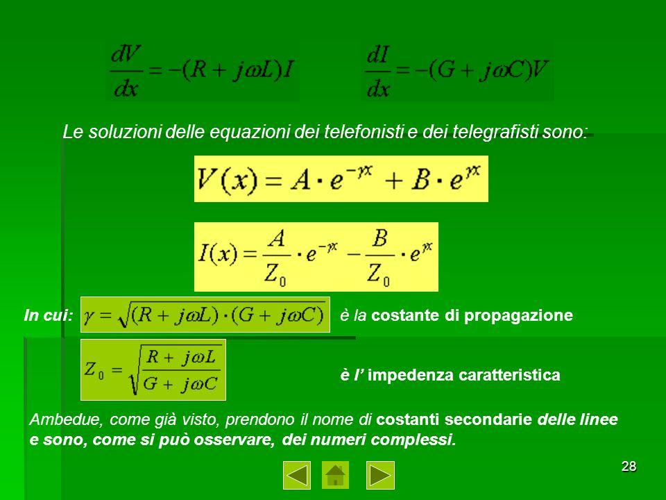 29 CONSIDERAZIONI SULLE EQUAZIONI GENERALI DI PROPAGAZIONE Per comprendere meglio il significato fisico delle soluzioni delle equazioni dei Telefonisti, è opportuno esaminare separatamente i termini a secondo membro delle due espressioni.