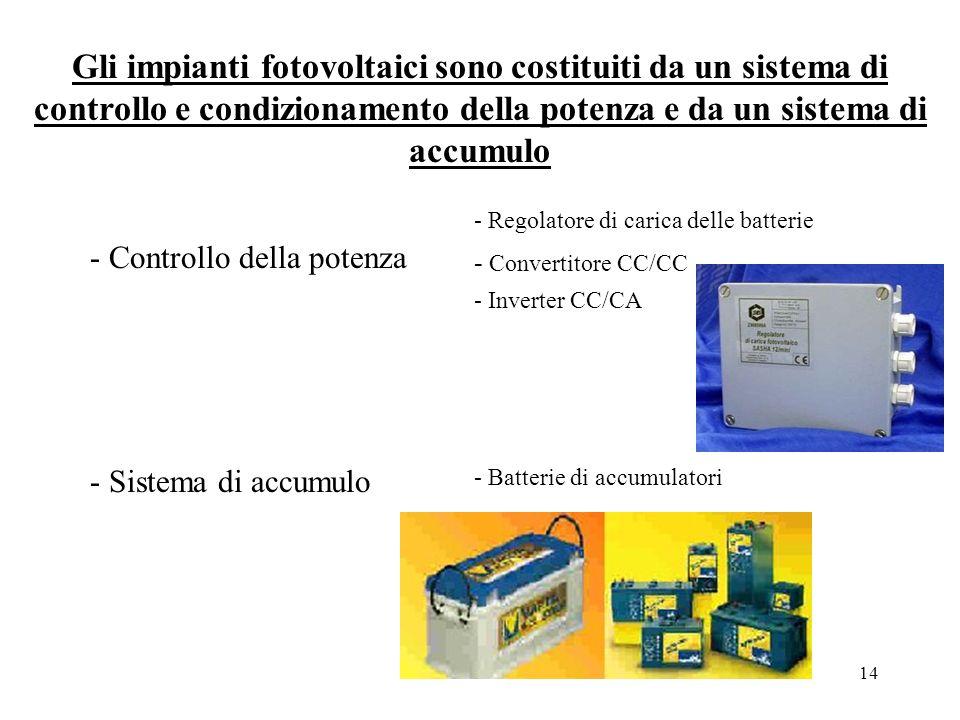 14 Gli impianti fotovoltaici sono costituiti da un sistema di controllo e condizionamento della potenza e da un sistema di accumulo - Controllo della potenza - Regolatore di carica delle batterie - Convertitore CC/CC - Inverter CC/CA - Sistema di accumulo - Batterie di accumulatori