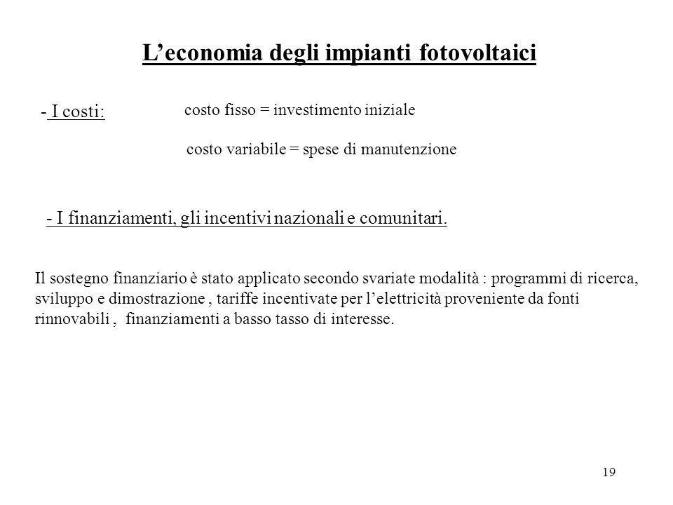 19 Leconomia degli impianti fotovoltaici - I costi: - I finanziamenti, gli incentivi nazionali e comunitari.