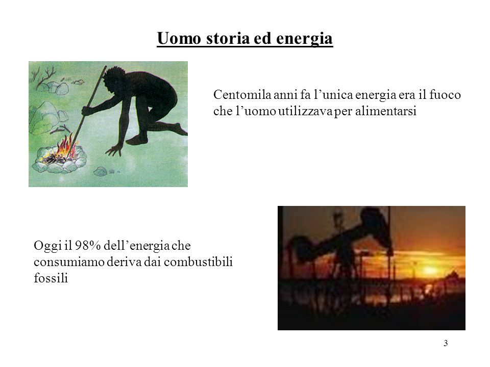 3 Uomo storia ed energia Centomila anni fa lunica energia era il fuoco che luomo utilizzava per alimentarsi Oggi il 98% dellenergia che consumiamo deriva dai combustibili fossili