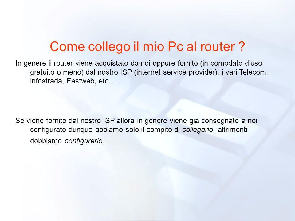 Come collego il mio Pc al router ? In genere il router viene acquistato da noi oppure fornito (in comodato duso gratuito o meno) dal nostro ISP (inter