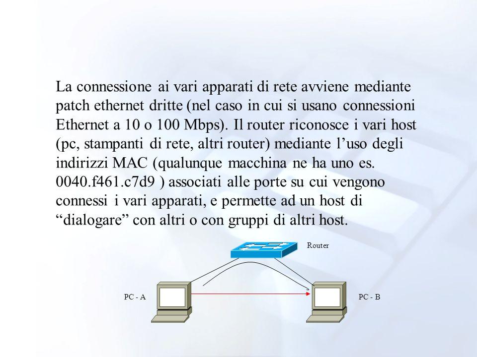 La connessione ai vari apparati di rete avviene mediante patch ethernet dritte (nel caso in cui si usano connessioni Ethernet a 10 o 100 Mbps). Il rou