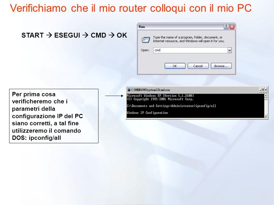Per prima cosa verificheremo che i parametri della configurazione IP del PC siano corretti, a tal fine utilizzeremo il comando DOS: ipconfig/all START ESEGUI CMD OK Verifichiamo che il mio router colloqui con il mio PC