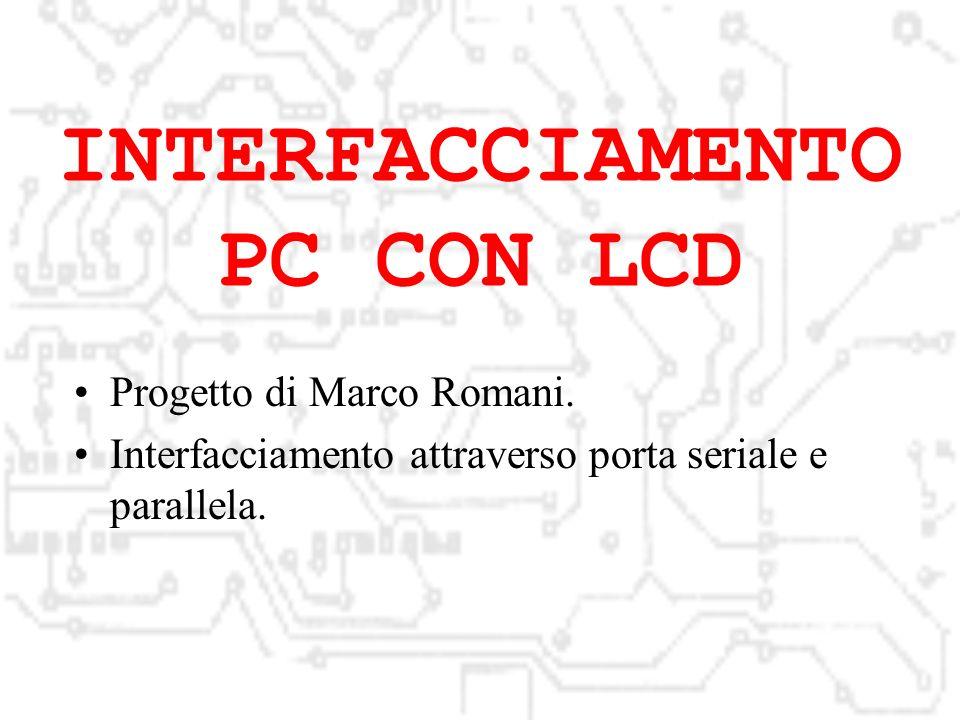 INTERFACCIAMENTO PC CON LCD Progetto di Marco Romani.