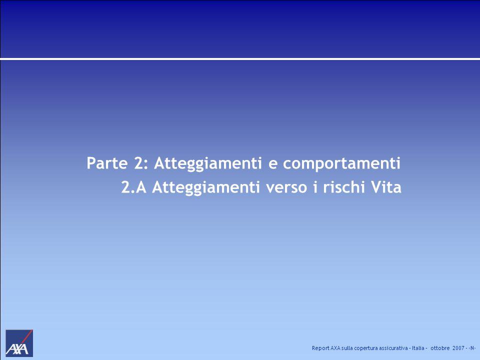 Report AXA sulla copertura assicurativa – Italia – ottobre 2007 - N Parte 2: Atteggiamenti e comportamenti 2.A Atteggiamenti verso i rischi Vita