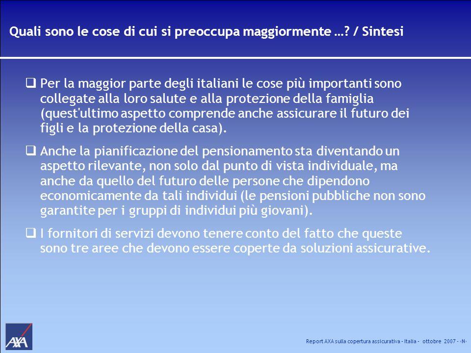 Report AXA sulla copertura assicurativa – Italia – ottobre 2007 - N Quali sono le cose di cui si preoccupa maggiormente …? / Sintesi Per la maggior pa
