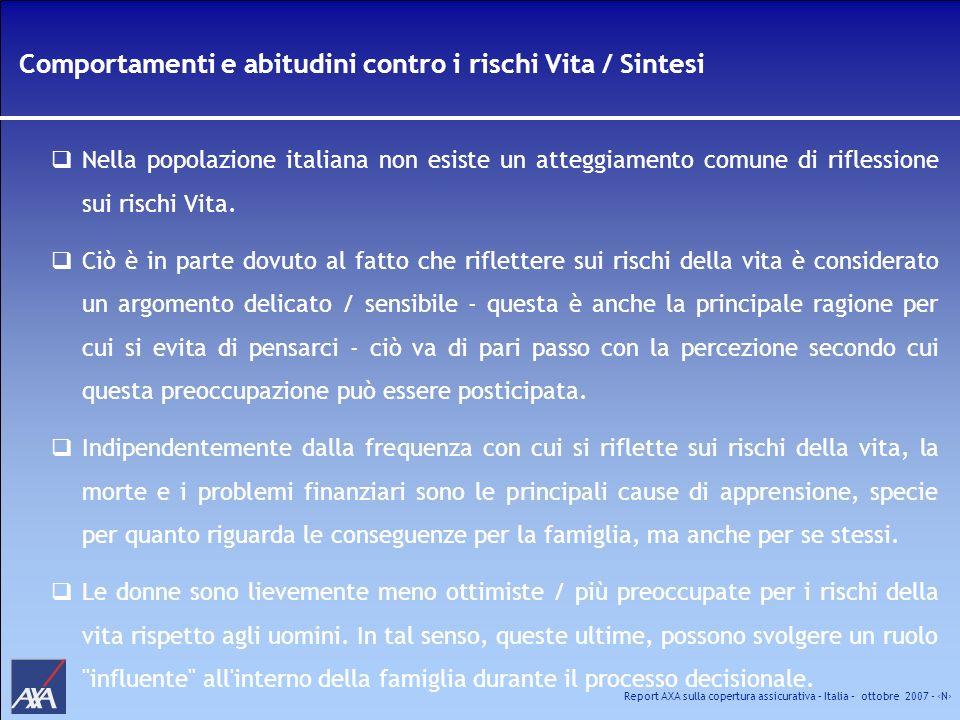 Report AXA sulla copertura assicurativa – Italia – ottobre 2007 - N Comportamenti e abitudini contro i rischi Vita / Sintesi Nella popolazione italian