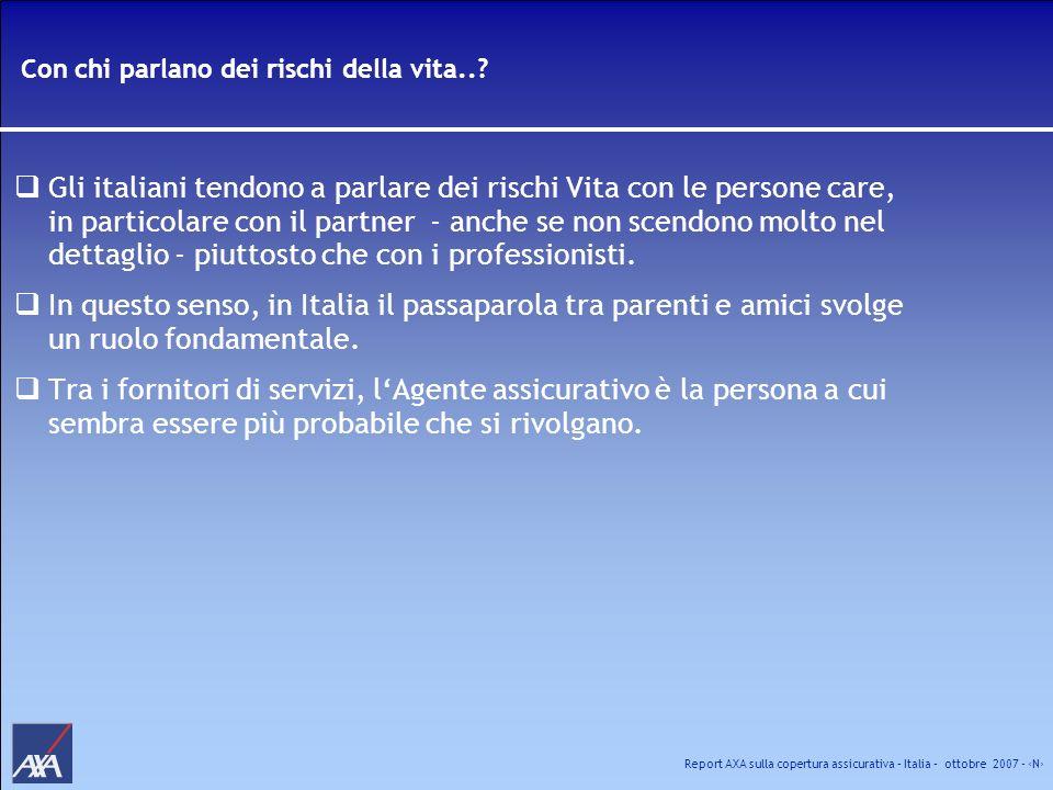 Report AXA sulla copertura assicurativa – Italia – ottobre 2007 - N Con chi parlano dei rischi della vita..? Gli italiani tendono a parlare dei rischi