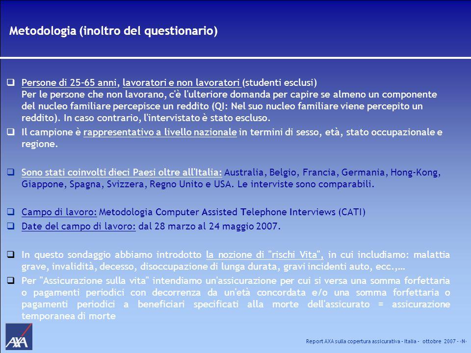Report AXA sulla copertura assicurativa – Italia – ottobre 2007 - N Analisi complementare delle informazioni Valutazione scaglioni: ogni importo o percentuale sarà presentato su un intervallo di scaglioni; per determinare i valori dello scaglione, applichiamo le seguenti regole: per lo scaglione più alto abbiamo considerato 0,75 del valore dello scaglione (ad esempio: lo scaglione inferiore a 25.000 è stato valutato a 18.750) per lo scaglione più alto abbiamo considerato 1,5 del valore dello scaglione (ad esempio: lo scaglione superiore a 1.000.000 è stato valutato a 1.500.000) per tutti gli altri scaglioni abbiamo considerato la media (ad esempio: da 25.000 a 50.000 è stata valutata a 37.500) Basi minime: una base compresa tra 30 e 59 sarà analizzata con cautela; la rappresenteremo come segue (n= 35*).