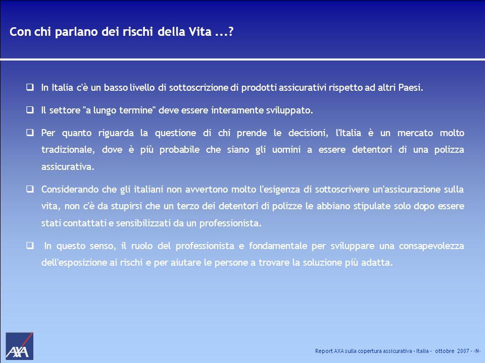 Report AXA sulla copertura assicurativa – Italia – ottobre 2007 - N Con chi parlano dei rischi della Vita...? In Italia c'è un basso livello di sottos